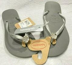 Havaianas Women's Slim Flip Flop Sandals Gray / Silver Detail USA 6 Size... - $30.84