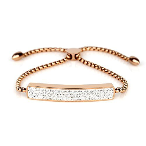 UNITED ELEGANCE Trendy Rose Tone Bolo Bar Bracelet With Swarovski Style Crystals