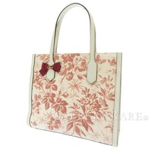 GUCCI Tote Bag Canvas Leather White Red Herbarium Limited 432684  Authentic - $566.32