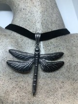 Vintage Dragonfly Choker Silver Stainless Steel Pendant Necklace - $64.35