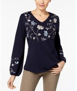 $59.50 Style & Co Embroidered Sweater, M, Industrial Blue - $21.43