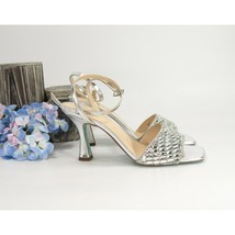Betsey Johnson Pacey Silver Faux Leather Crystal Ankle Strap Heels 9 NIB - $73.76