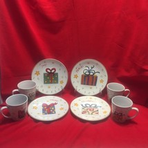 Christmas Dessert Plates With Matching Cups Set of 8 Celebrate Joy Cheer... - $15.79