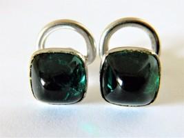 Vintage Art Deco Cufflinks Green Cabochon Glass Men's Formal Wear Access... - $18.58