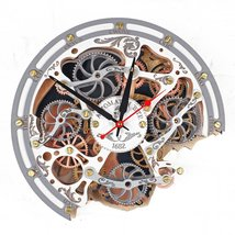 Automaton Bite 1682 White Wall Clock Handcrafted moving gears steampunk decor - $138.00
