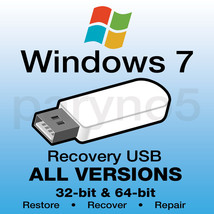 WINDOWS 7 HOME BASIC 64-bit Recovery Install Reinstall Restore USB Flash... - $10.99