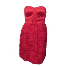 Snap Red Satin Strapless Ruffles Party Formal Cocktail Mini Straight Dre... - $12.87