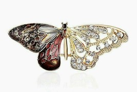 "Beautiful Gold-tone Rhinestone and Enamel BUTTERFLY Brooch Pin 2"" x 3/4"" - $5.93"