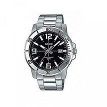 Casio Men's Silver Tone Stainless Steel Black Dial Analog Watch MTP-VD01... - $36.62