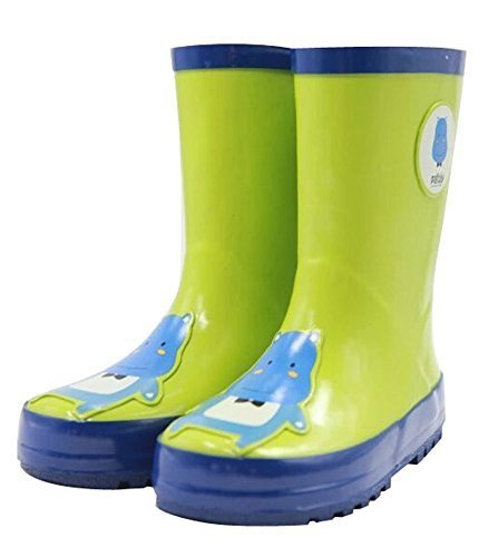 Cute Starry Kids' Rain Boots Green Hippo Children Rainy Days Shoes 17.8CM