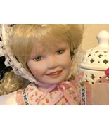 Yolanda Bello Signed Porcelain Doll Blonde Hair Green Eyes - $21.78