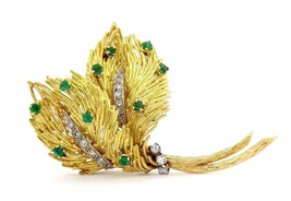 Emerald Diamond Flower Leaves Fluted Accent Pin Brooch Pendant 18K Gold ... - $2,078.17
