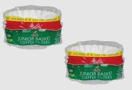 2** 100ct MELITTA Junior Basket Coffee Filters Most 4-6 Cup Makers Brewe... - $11.66