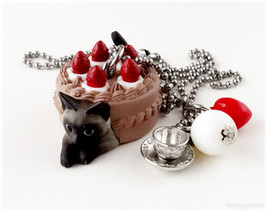 Siamese Cat Figure Necklace, Chocolate Cake and Tea Cup Charm - Sweet Lo... - $19.00