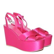 Sergio Rossi Pink Satin High Wedge Heels Sandals Party Platform Shoes Sz... - $210.06