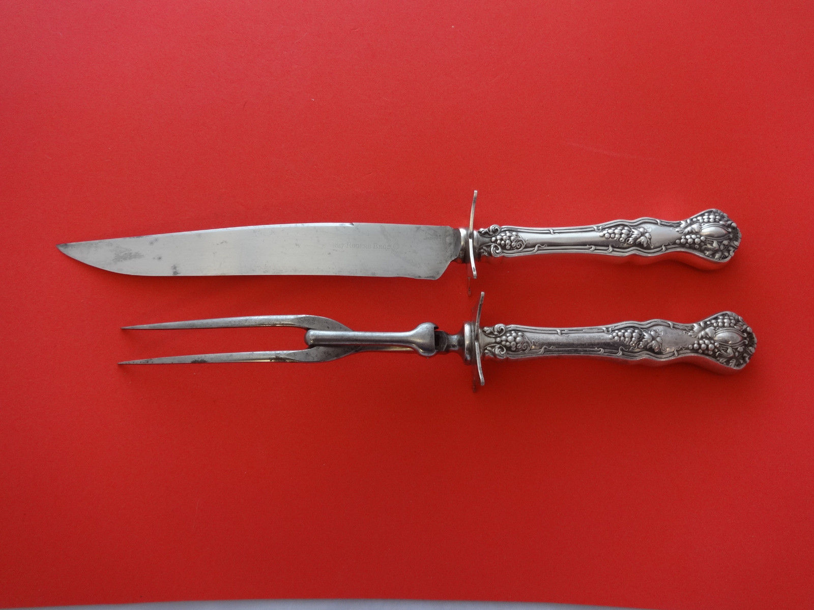 Primary image for Vintage by 1847 Rogers Plate Silverplate Medium 2pc Carving Set 12""