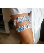 Sky blue wedding garter set Flower lace garter set Bridal garter Toss ga... - $26.00