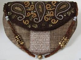 Bead & Sequined Clutch in Khaki Jute Zari Sling Embroidered By Teknowear - $33.65