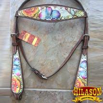 Hilason Western Horse Headstall Bridle American Leather Dark Brown Floral U-1-HS - $63.31