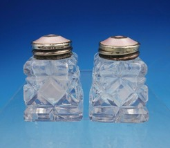 Norwegian Sterling Silver Glass Salt and Pepper Shaker 2pc Pink Enamel (... - $53.10