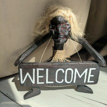 Wooden figurine of Asmat with a WELCOME sign made of mangrove tree home ... - $30.00