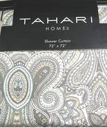 Tahari Mackenzie Paisley Gray Taupe Aqua White Shower Curtain - $35.00