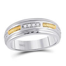 10kt Two-tone Gold Mens Round Diamond Wedding Band Ring 1/5 Cttw - $846.90