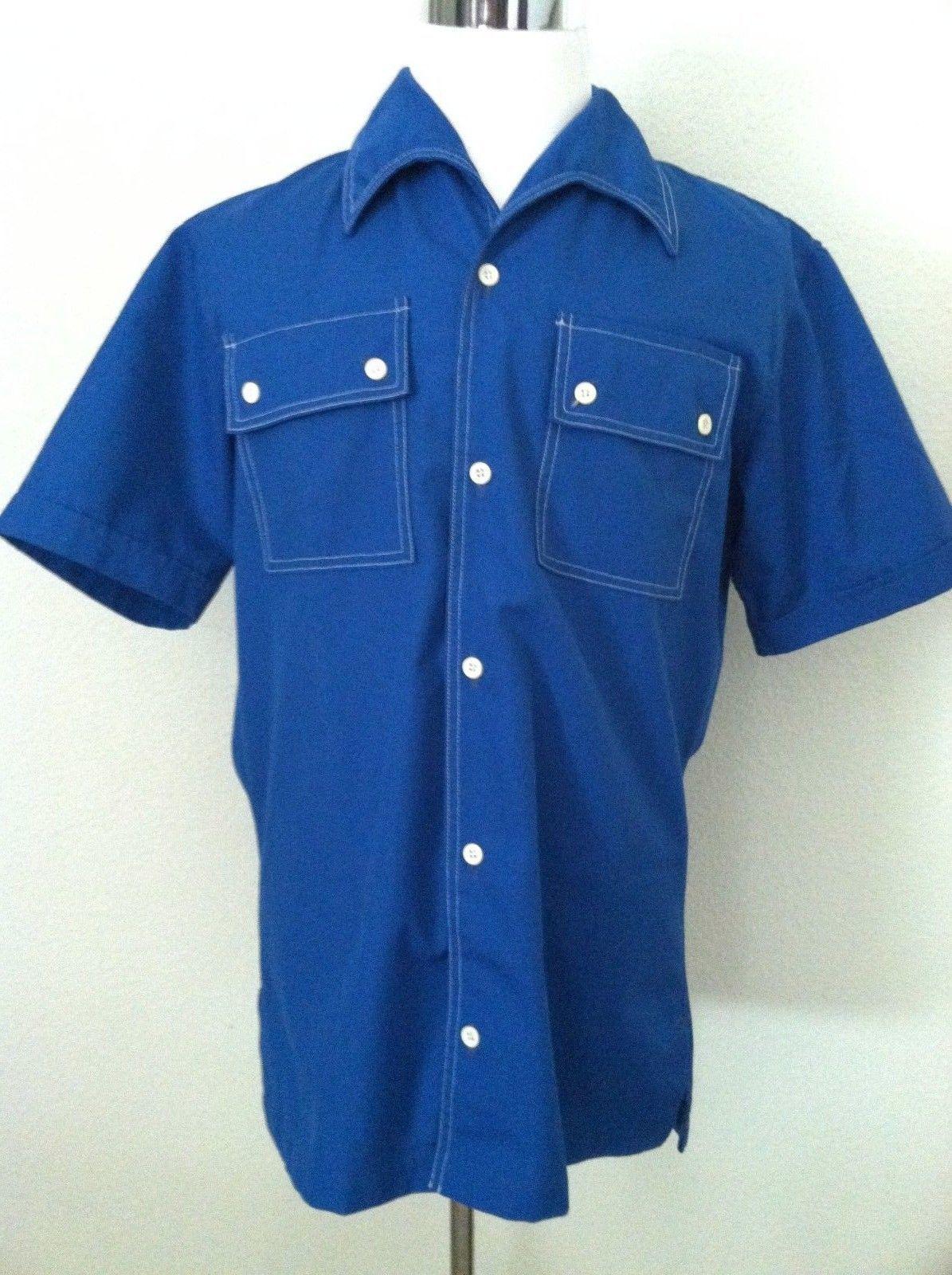 7119319a41e Vintage 60 men shirt button down blue short and 43 similar items