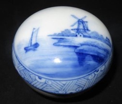 Delft Germany Hand Painted Covered Trinket Round Box Dish Blue Windmill ... - $24.99