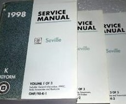 1998 Cadillac SEVILLE Service Shop Repair Manual Set 98 FINAL EDI 3 VOLU... - $13.85