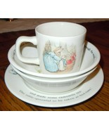 4pc Wedgwood Peter Rabbit 1993 Bowl Saucer & Mug Set England Frederick W... - $34.64