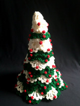 Vintage Hand Crocheted 14 Inch Christmas Tree White Red Green - $22.77