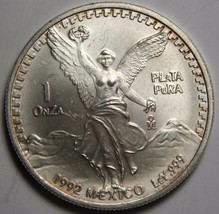 1992 Libertad Mexican Onza 1 Ounce Silver Coin Lot# N 460