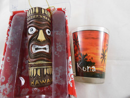 New Tiki Christmas Ornament Hawaii plus Kona RBCI Shot Glass - $9.89