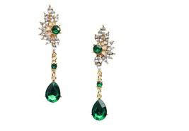 Bohemian Earrings Wings Charm Drop Pendant Green Rhinestone Woman Fashio... - $37.21