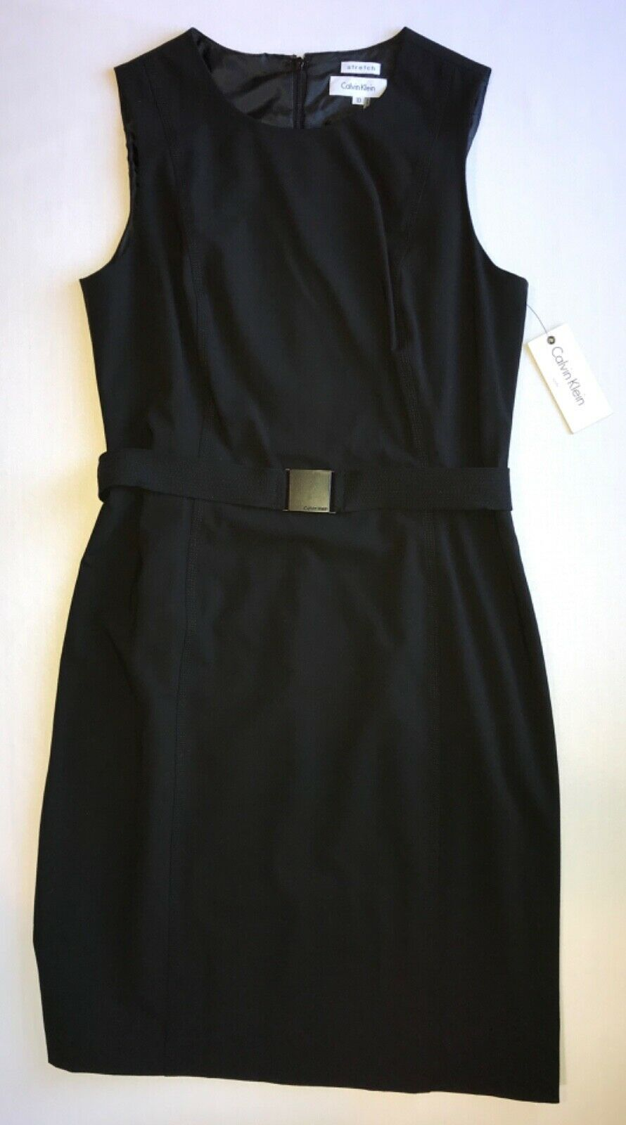 Primary image for Scoop Neck Front Sleeveless Shift Dress w/Belted Waist in sz 10 by Calvin Klein