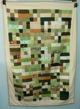 Handmade Flannel Quilt Patchwork Lap Throw Blanket Green Tan Soft Warm 5... - $39.59