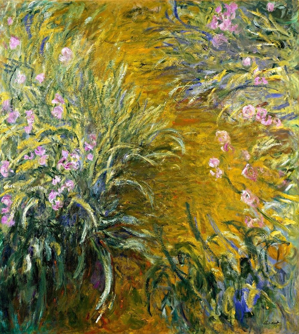 The Path through the Irises Painting by Claude Monet Art Reproduction