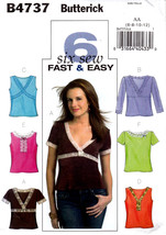 Butterick B4737 Misses Tops Pullover Sewing Pattern Sizes 6-8-10-12 Easy - $6.95