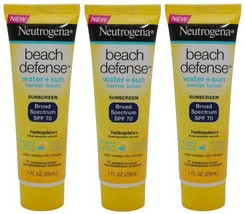 Beach Defense Sunscreen Lotion Broad Spectrum SPF 70,Travel Size (Pack o... - $14.41