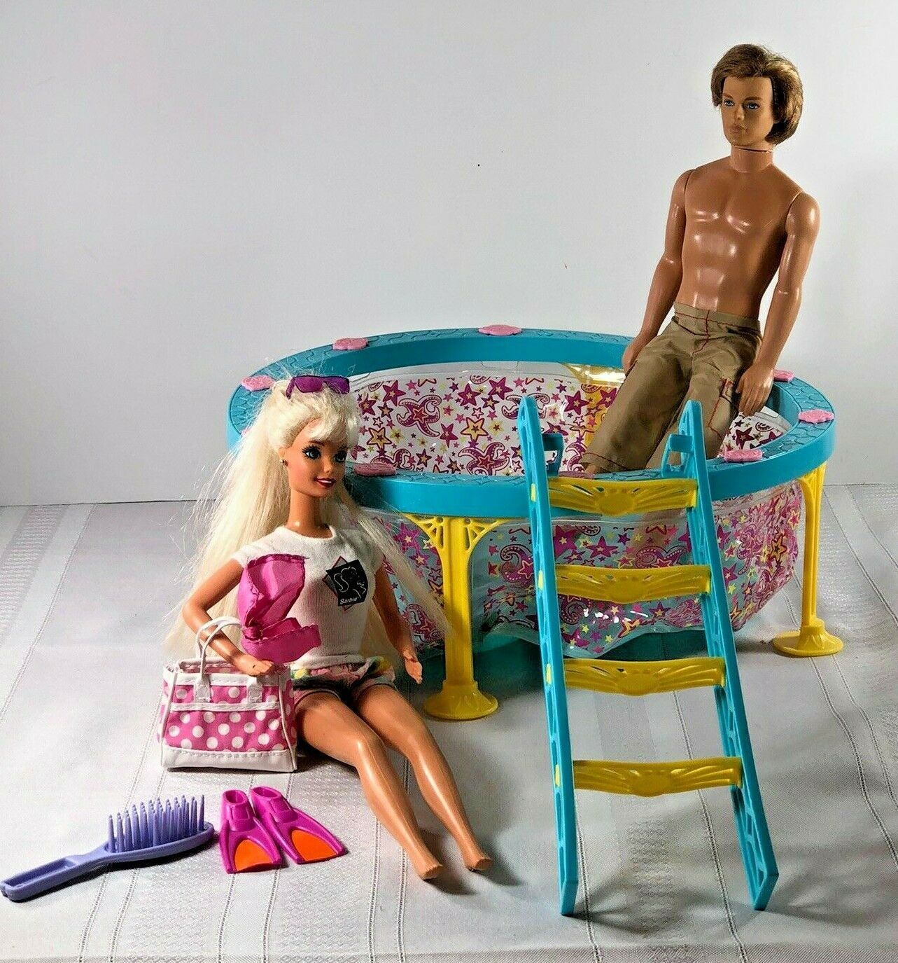 Primary image for Mattel 1966 twist & Turn Barbie & Ken Doll with Swimming pool +ladder Summer lot