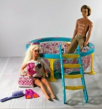 Mattel 1966 twist & Turn Barbie & Ken Doll with Swimming pool +ladder Su... - $27.71