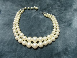 Vintage Costume Jewelry, Double Strand Faux Pearl Necklace, Graduated NK214 - $12.69