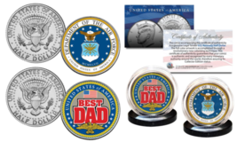 Air Force - Fathers Day Best Dad Military 2-Coin U.S Jfk Kennedy Half Dollar Set - $13.06