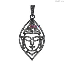 Buddha Shape Diamond Pendant 925 Sterling Silver Pendant Simple Rose Cut... - $229.15