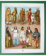 ARABS of Algeria Natives Jews Africa - COLOR Litho Print by A. Racinet - $9.45