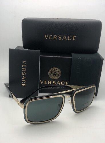 New VERSACE Sunglasses MOD.2183 1252/87 63-12 Gold & Black Aviator w/ Grey Lens