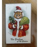 LOUIS WAIN SIGNED CHRISTMAS CAT SANTA NOTE CARD UNUSED - $39.55