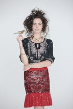 Moulinette Soeurs Anthropologie Suelta Red Black Sequin Cotton Skirt 4 - $39.89