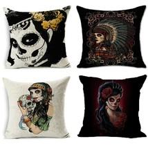 45x45 Skull Cotton Linen Fashion Sofa Throw Pillow Case Cushion Cover Ho... - $9.99